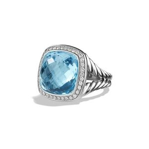 David Yurman Albion Ring with blue topaz and diamo